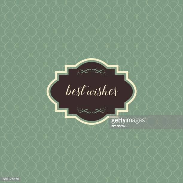 Vintage frame with green and dark brown color pattern background