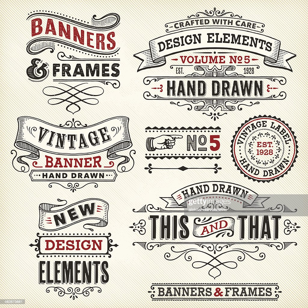 Vintage frames and banners hand drawn : Stock Illustration