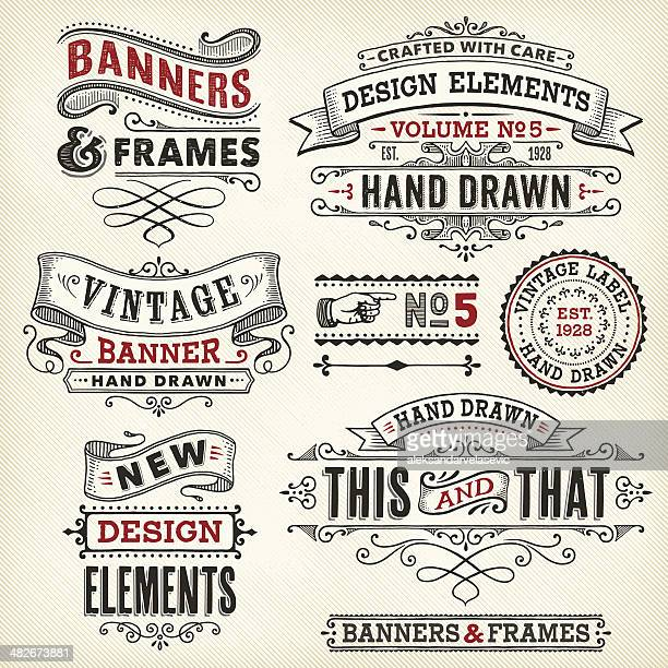 vintage frames and banners hand drawn - retro style stock illustrations