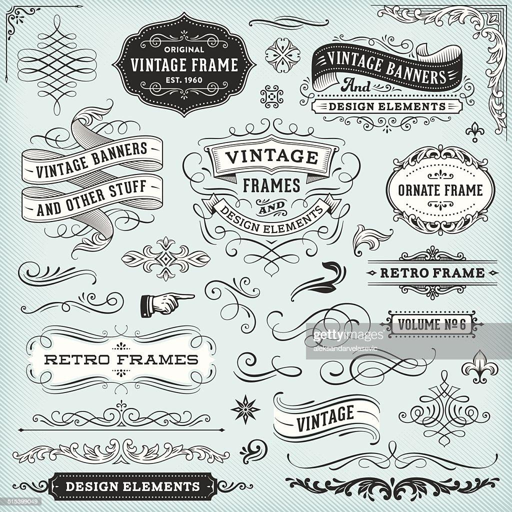 Vintage Frames y Banners : Ilustración de stock