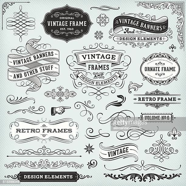 vintage frames and banners - decoration stock illustrations