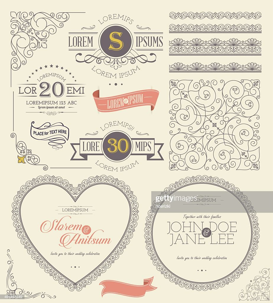Vintage Frames and Banners with ornamental round lace