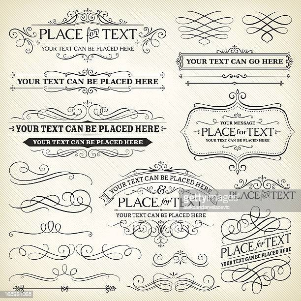 vintage frames and scroll elements - calligraphy stock illustrations