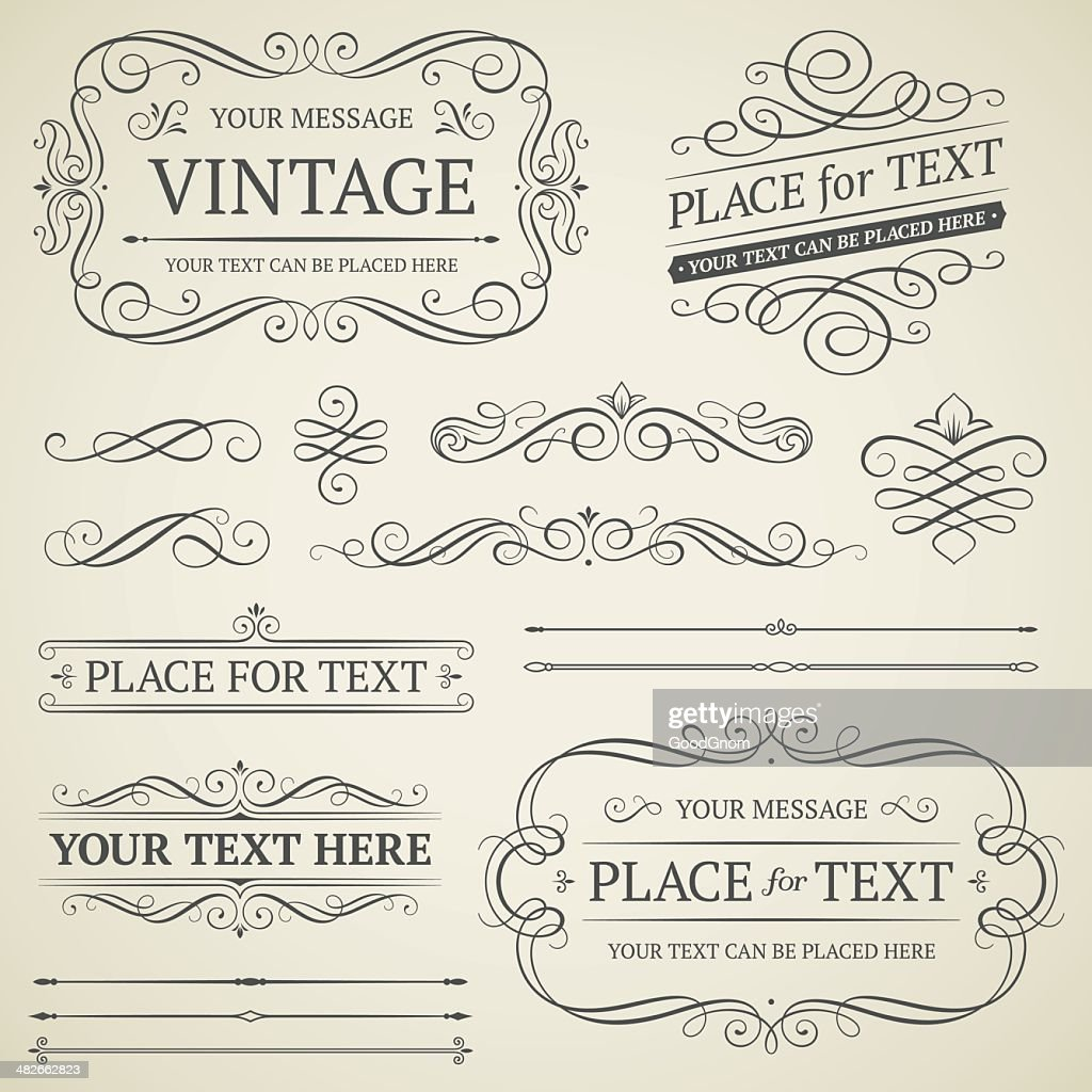 Vintage frames and scrolls