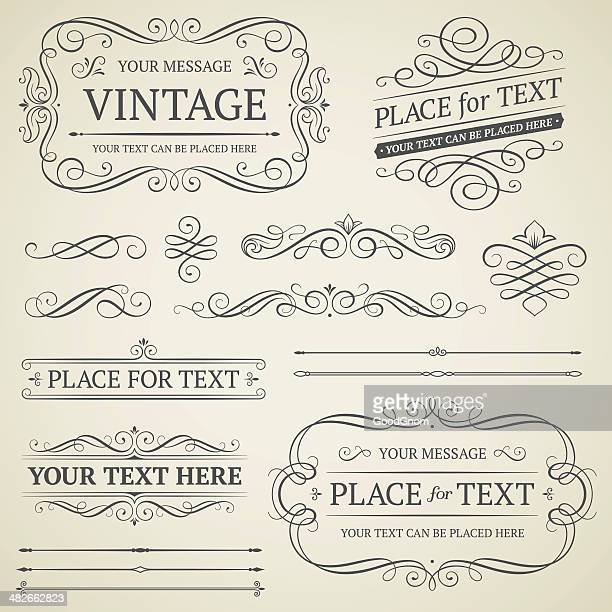 vintage frames and scrolls - decoration stock illustrations