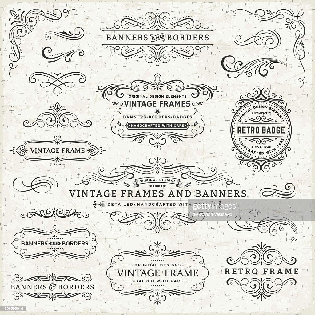 Vintage Frames, Banner und Abzeichen : Stock-Illustration
