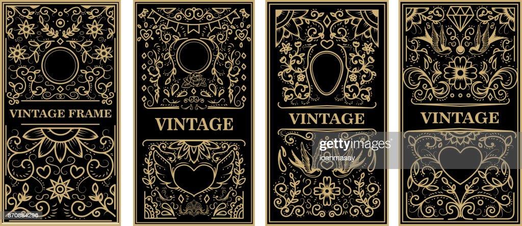 Vintage frames in golden style on dark background. Vector design element