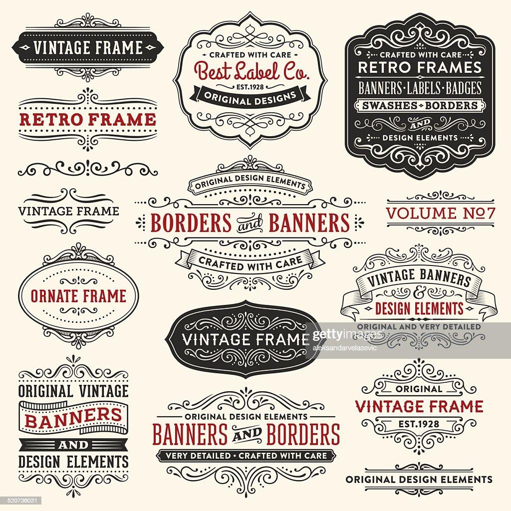 Vintage Frames,Banners and Badges : stock illustration