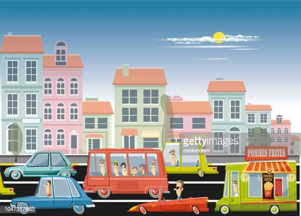 ヴィンテージのフランス車や交通 - フラットデザイン 街点のイラスト素材/クリップアート素材/マンガ素材/アイコン素材