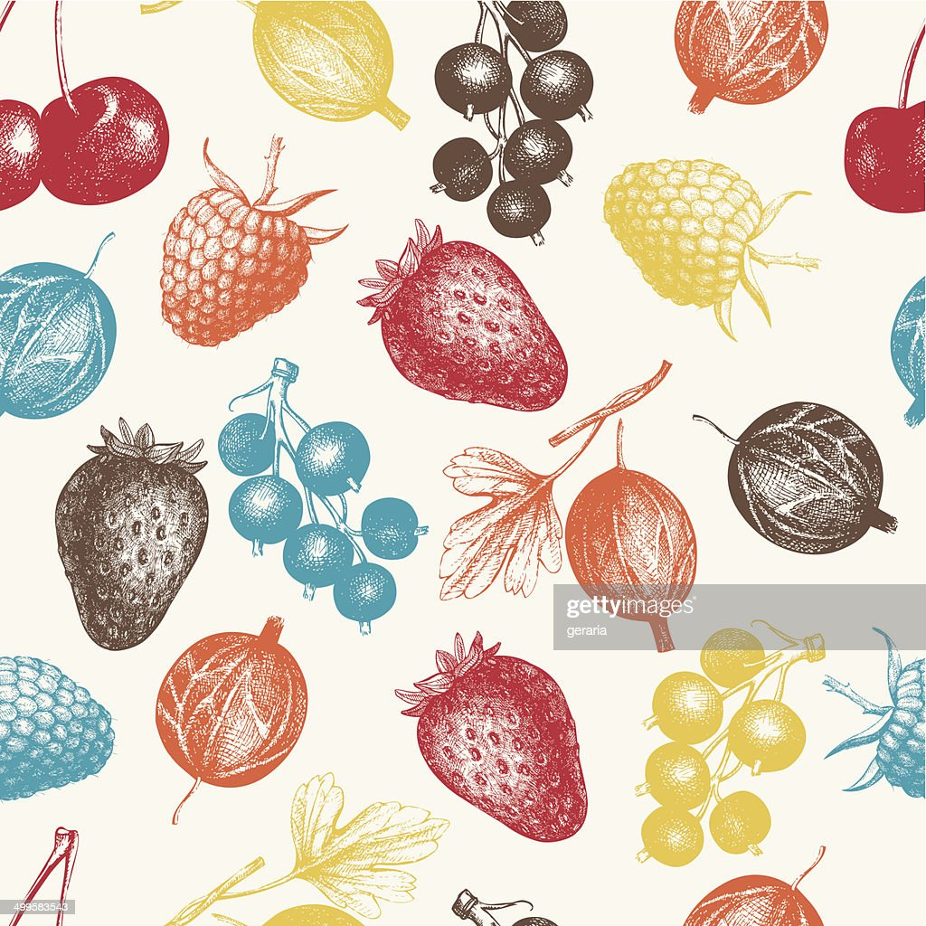 Vintage fruit and berry seamless background