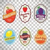 Vintage fruit labels on transparent background