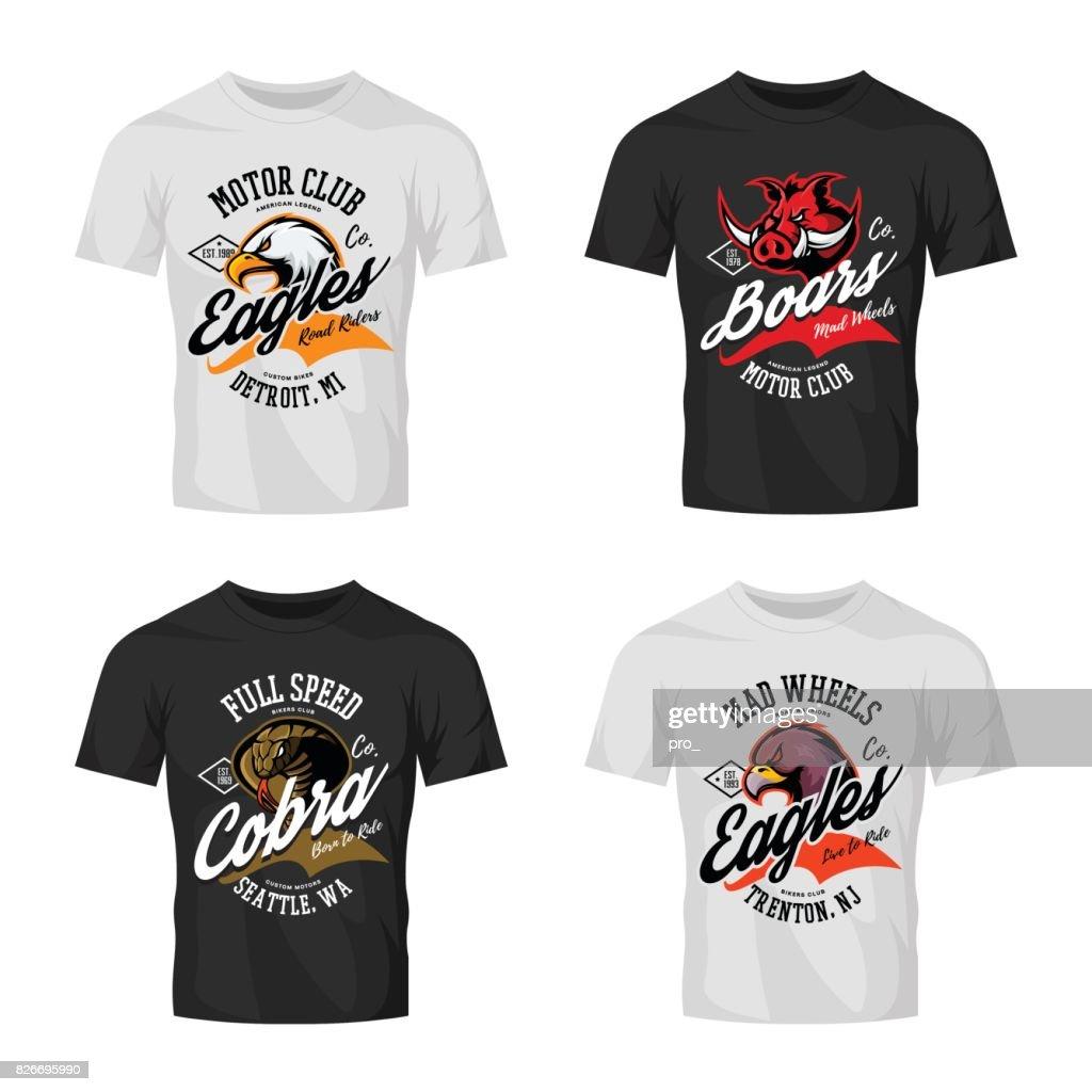 Vintage furious eagle, boar, cobra bikers club tee print vector design isolated on t-shirt mockup.