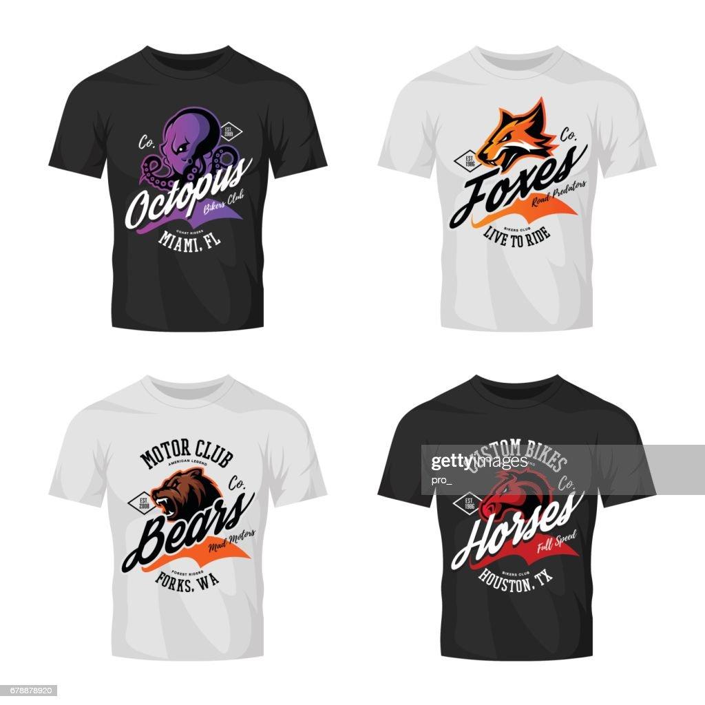 Vintage furious octopus, bear, fox and horse bikers club tee print vector design on t-shirt mockup.