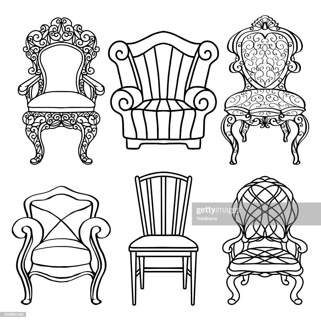 Vintage furniture set, chair, armchair, throne closeup