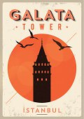 Vintage Galata Tower - Istanbul Poster