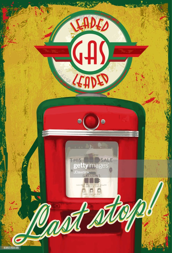 Vintage Gas Pump Signage Last Stop Yellow Green Aged
