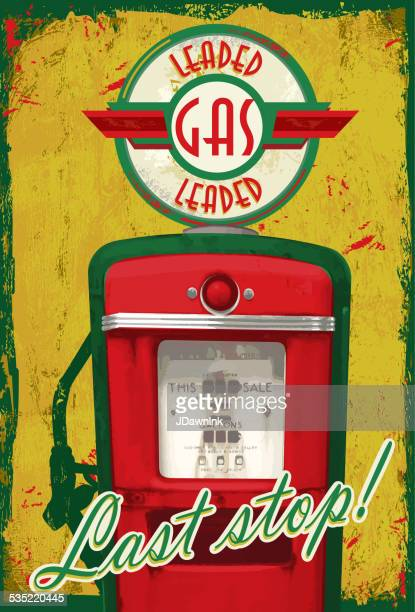 Vintage Gas pump signage  Last stop! yellow green aged background