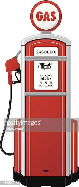 vintage gas pump - fuel pump stock illustrations, clip art, cartoons, & icons