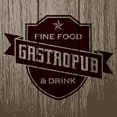 Vintage Gastropub Label on Aged Wood