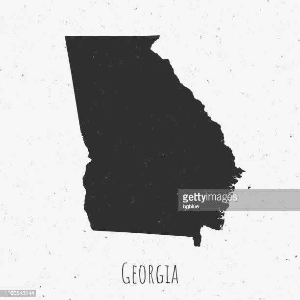 ilustraciones, imágenes clip art, dibujos animados e iconos de stock de vintage georgia (ee.uu.) mapa con estilo retro, sobre fondo blanco polvoriento - atlanta georgia