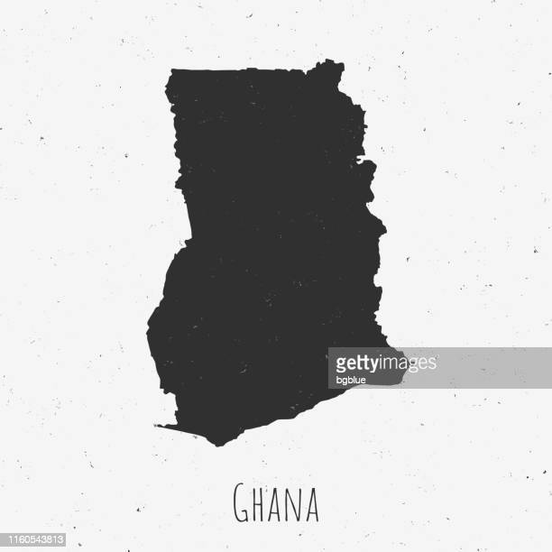 vintage ghana map with retro style, on dusty white background - ghana stock illustrations, clip art, cartoons, & icons