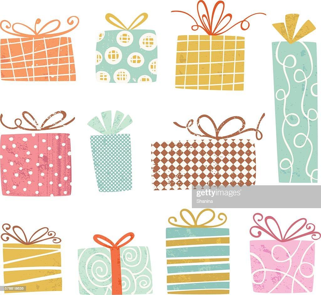 Vintage gift Boxes : stock illustration