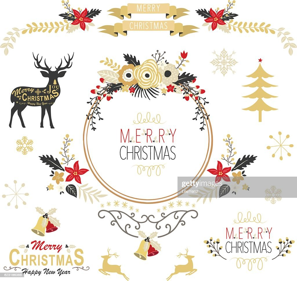 Vintage Gold Christmas Elements- Illustration