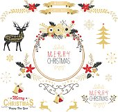 Vintage Gold Christmas Elements- Illustration