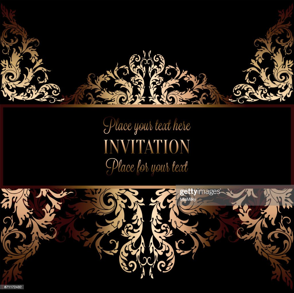 Vintage Gold Invitation Or Wedding Card On Black Background Divider Header Ornamental Lacy Vector Frame High Res Vector Graphic Getty Images
