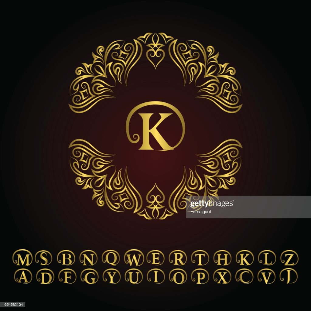 Vintage Gold Monogram Abstract Alphabet Floral Template In Trendy Mono Line Style Letter Emblem K Design Decor For Company Restaurant Royalty Boutique Cafe Hotel Cosmetics Vector Illustration High Res Vector Graphic Getty