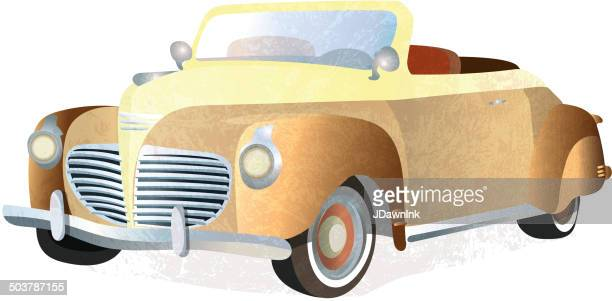 vintage gold retro convertible car on white background - gatsby image stock illustrations