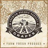 Vintage grapes harvest label