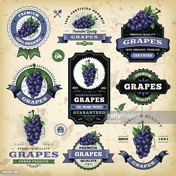 Etiquetas Vintage uvas