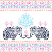 Vintage graphic vector Indian lotus ethnic elephant seamless pat