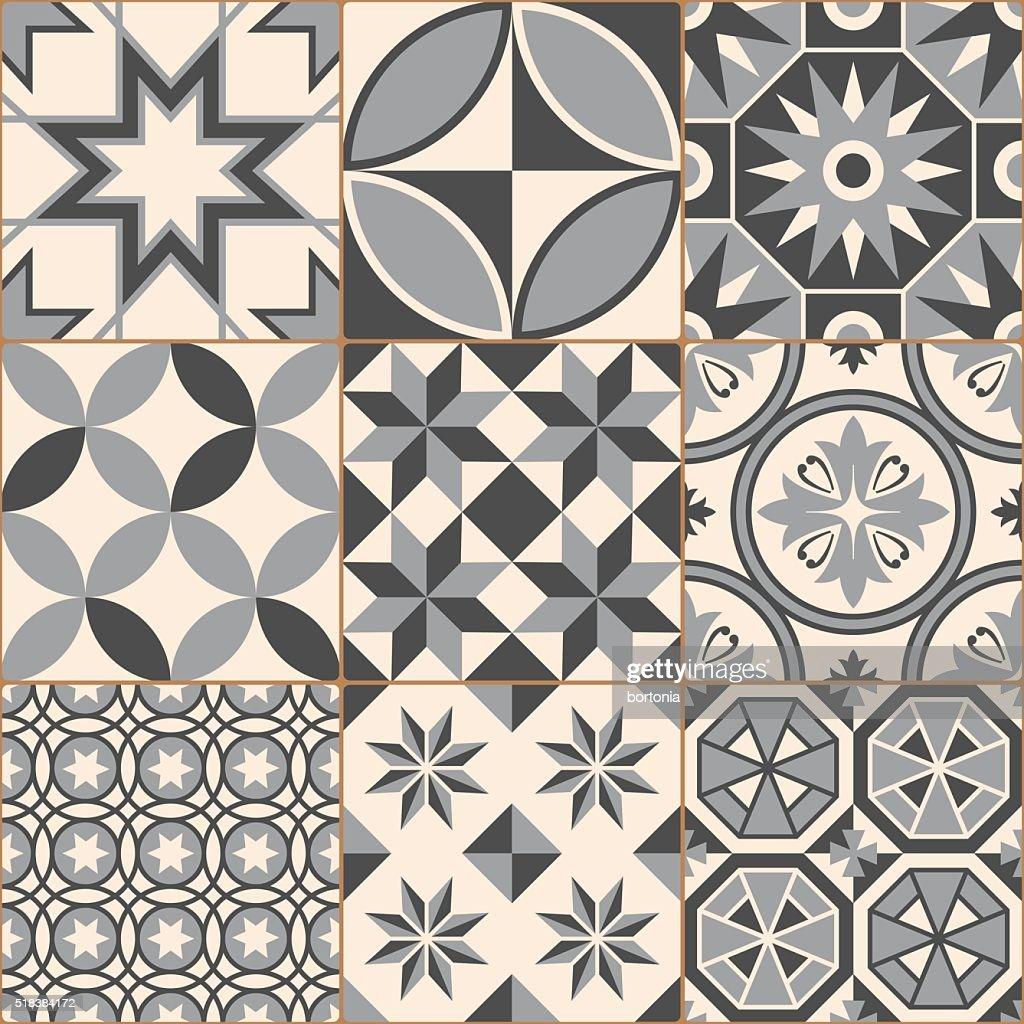 Vintage Gray Mosaic Porcelain Tiles Seamless Pattern