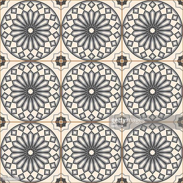 illustrazioni stock, clip art, cartoni animati e icone di tendenza di grigio vintage mosaico di piastrelle di porcellana motivo senza interruzioni - cultura portoghese