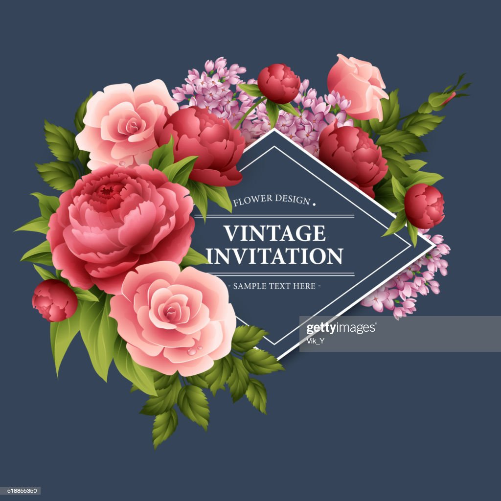 Vintage  Greeting Card with Blooming Flowers.  Vector Illustration