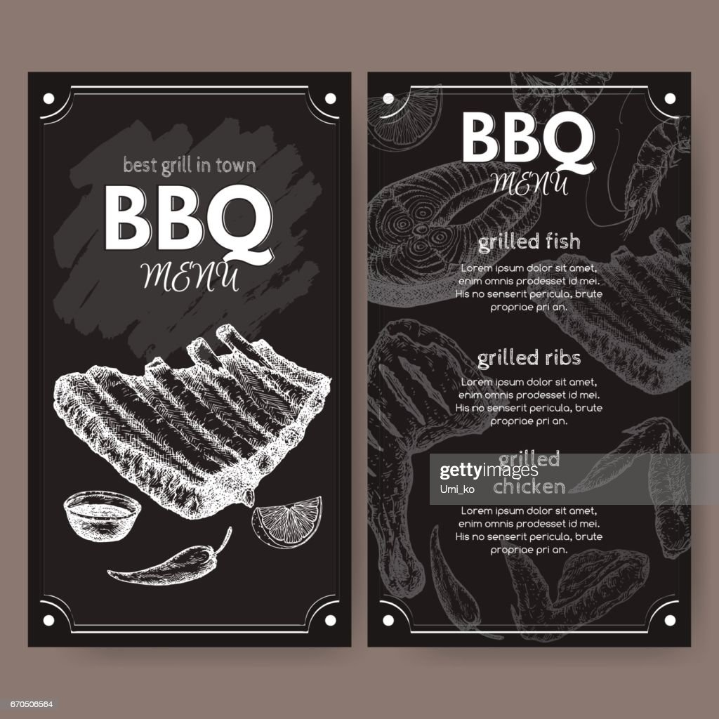 Vintage Grill Restaurant Menu Template With Hand Drawn Sketch Vektorgrafik