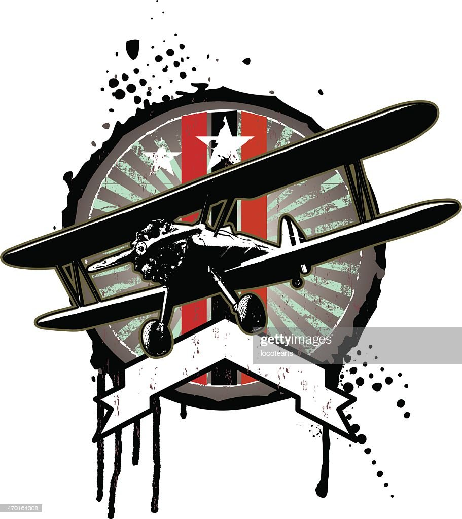 vintage grunge shield with banner and airplane