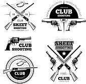 Vintage gun club vector labels, logos, emblems set