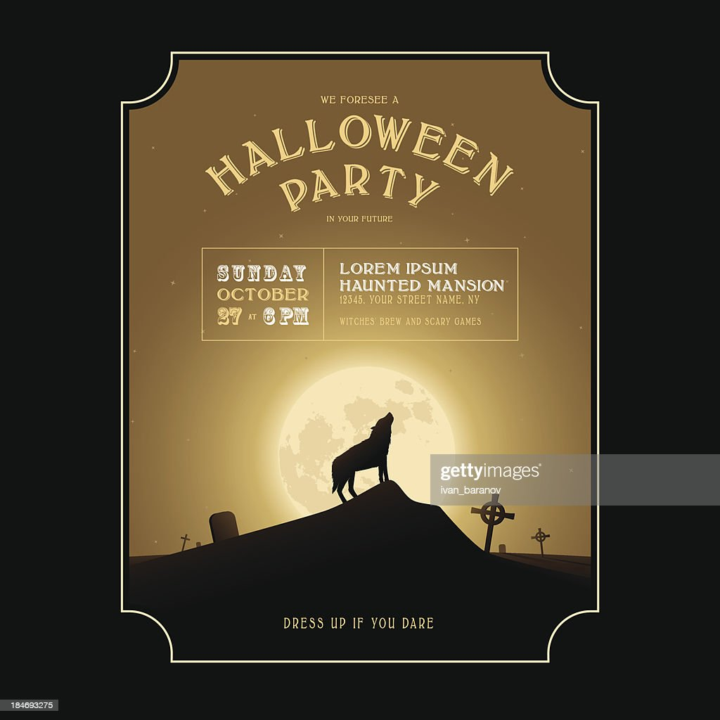 Vintage Halloween Invitation With Howling Werewolf Vector Art