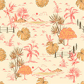Vintage Hand drawing sketch line summer scenery or lanscape in seamless pattern vector design for fashion fabric ,wallpaper and all prints