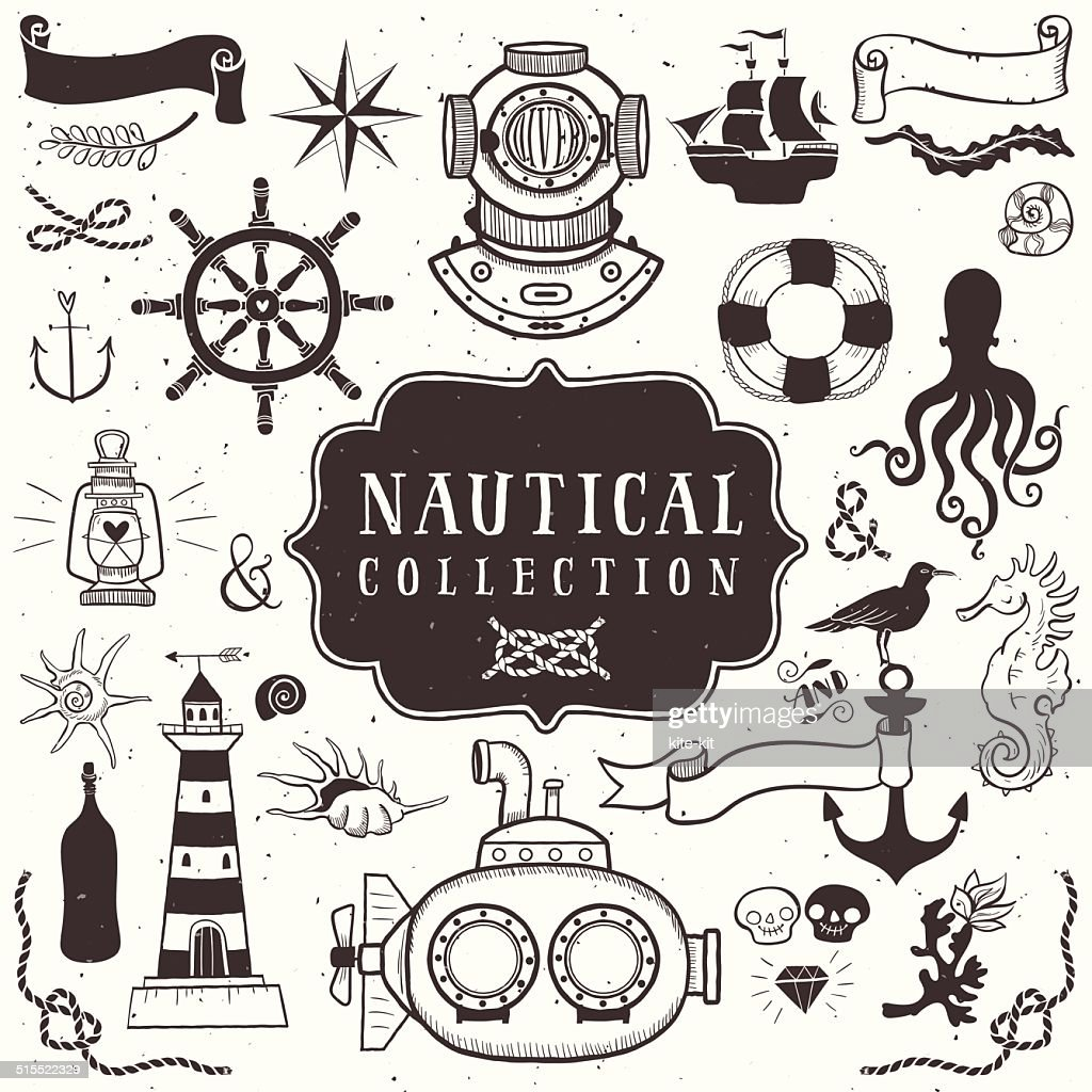 Vintage hand drawn elements in nautical style. Vol.1