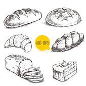 Vintage hand drawn sketch style bakery set.