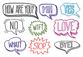 Vintage hand drawn speech bubbles with dialog words vector collection
