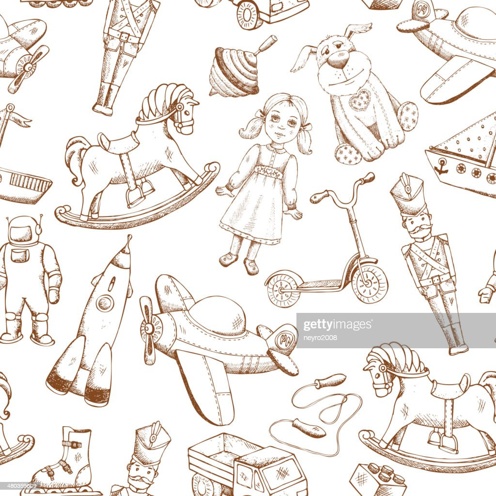vintage hand drawn toys pattern