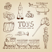 vintage hand drawn toys