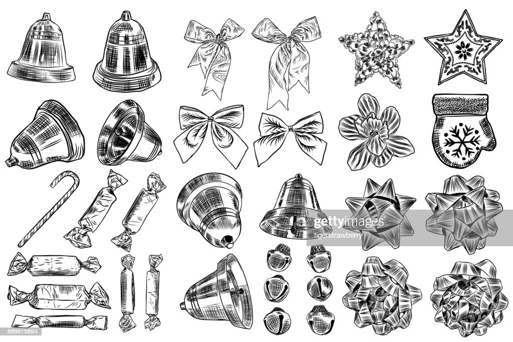 Vintage hand drawn traditional Christmas decorations for DIY, toys and snowflake star. Jingle bells, bows, ribbon, chocolate, candy,  poinsettia. Great for invitation and greeting cards design. Vector