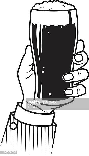 vintage hand holding beer - beer glass stock illustrations, clip art, cartoons, & icons