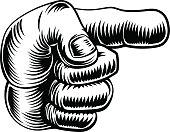 Vintage hand pointing finger